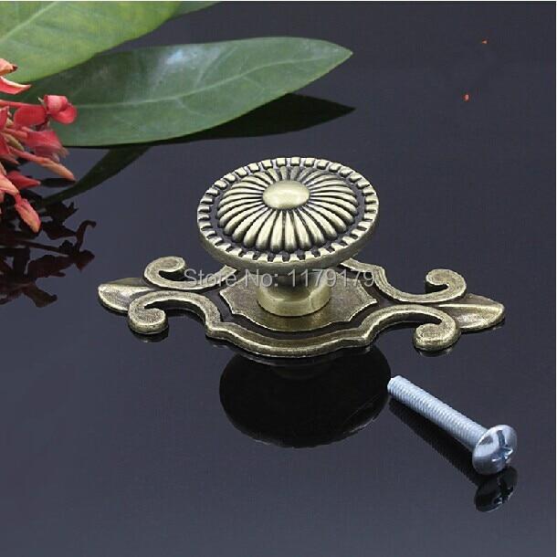 74mm backplate knob Antique brass drawer cabinet knob dresser wine cabinet pulls handles vintage bronze furniture handles