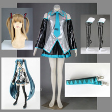 Athemis Vocaloid Family Super Alloy MIKU Cosplay costume Suit Girls Dress Sexy Sleeveless Shirt and Pleated Skirt
