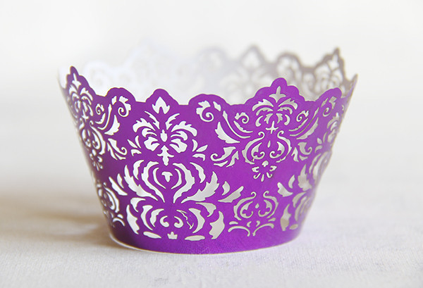 Free Shipping Purple Royal Lace Wedding Cupcake Wrers Bright Color Paper Mini Cupcakes Cup Cake Baking