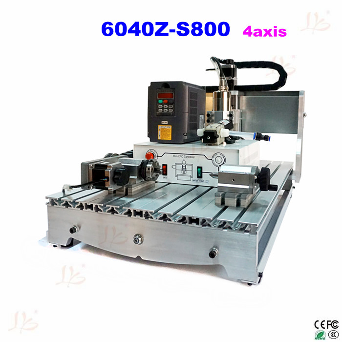 4 axis CNC Router aluminum engraving machine 6040 800W spindle with high precise ball screw No tax to Russia, no tax mini desktop cnc milling engraving machine cnc 3020z d300 with ball screw and 300w spindle