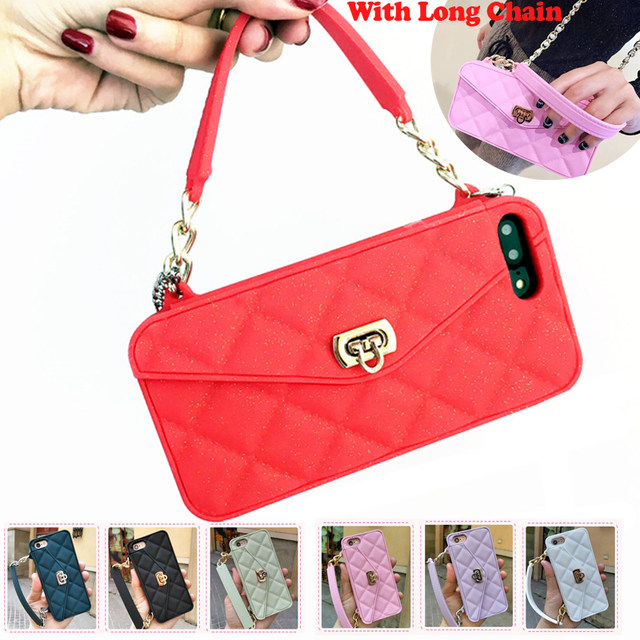 ... Quality Luxury Fashion Soft Silicone Card Bag Metal Clasp Women Handbag  Purse Phone Case Cover With Chain For Iphone 7 6 6S Plus 8 8 Plus X XS XR  XS MAX 00aeb56e39c7