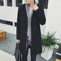 2016 Autumn winter England style Retro warm Collarless woolen jackets coat men Long section casual loose Wool coats men,M-XXL