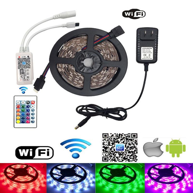 12 V RGB LED Strip Light 5050 Waterproof RGB Tape 30LED/s 5M 10M LED Tape Lamp Flexible WiFi Controller 12V Power Adapter Set hbl led strip 2835 5m 10m rgb led strip light 15m 20m 3528 smd led ribbon flexible led tape non waterproof 12v adapter full set