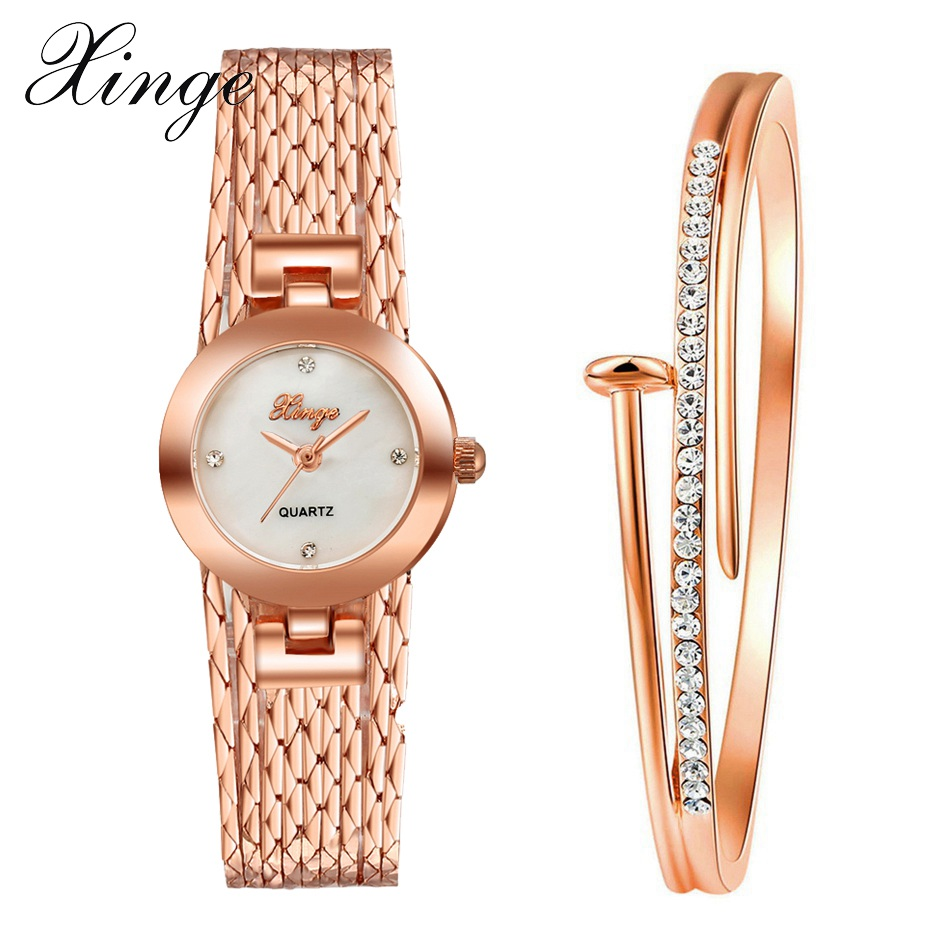 Xinge Brand Fashion Women Watches Luxury Rose Gold Crystal Dress Bracelet Wristwatch Ladies Dress Jewelry Quartz Watch Set Clock