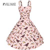 JLI 月の女性のヴィンテージドレスパーティーエレガントな鳥のプリントノースリーブミディストラップレスのスパゲッティストラップレディース服プラスサイズのドレス
