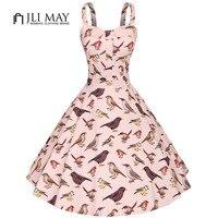 JLI MAY Women Vintage Dress Party Elegant Bird Print Sleeveless Midi Strapless Spaghetti Strap Womens Clothing