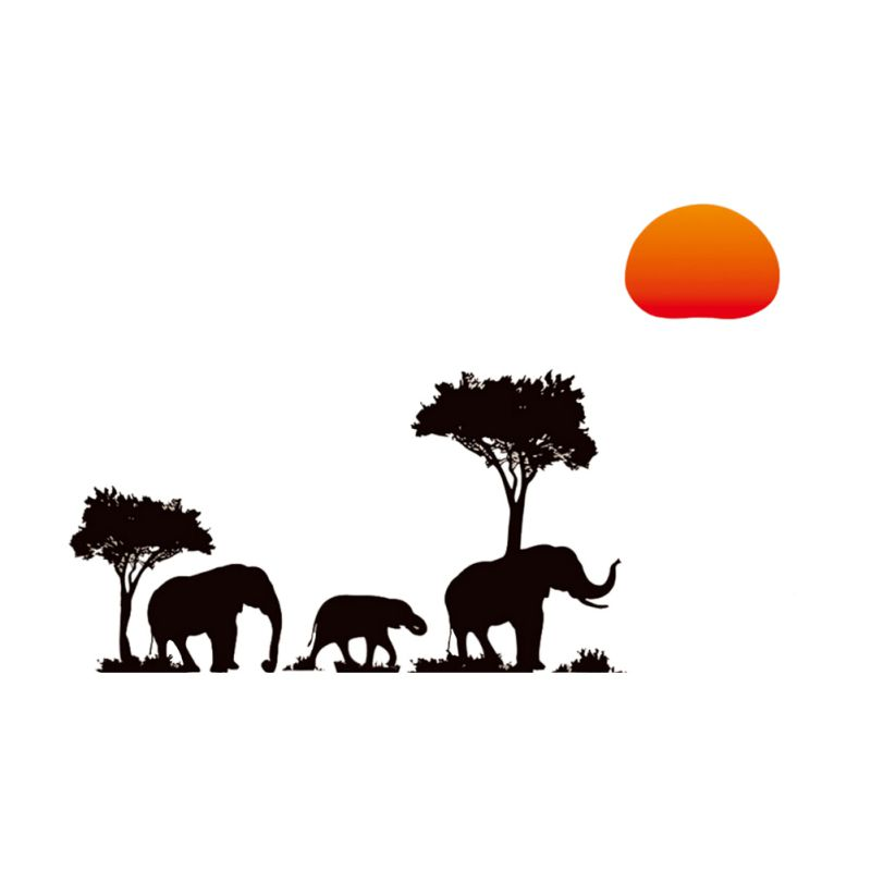 home art decal african elephants trees sunset stickers kids room kindergarten decor wall stickers removable vinyl mural african decor furniture