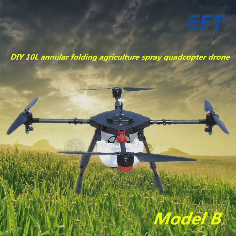 EFT DIY 10L Agriculture spray quadcopter drone 1300mm annular folding pure carbon fiber frame Model A and Model B pastoralism and agriculture pennar basin india