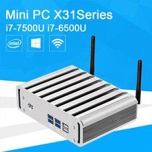 Мини-ПК Окна 10 i7 7500U i7 6500U 4 ГБ 8 ГБ DDR4 Оперативная память HTPC 4 К ТВ HDMI VGA Беспроводной WI-FI безвентиляторный мини-Настольный компьютер офисные