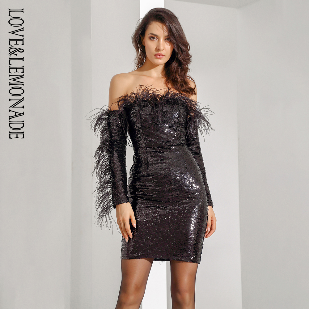 Love Lemonade Black Feathers Strapless Sequins Long Sleeved Dress LM81482