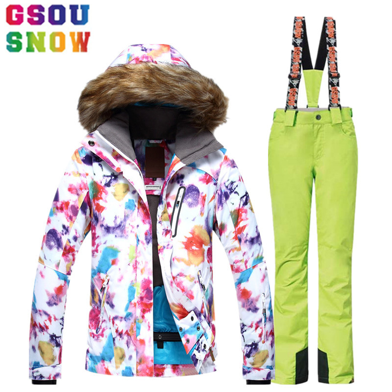 GSOU SNOW Ski Suit Women Ski Jacket Pants Waterproof Breathable Snowboard Jacket Pants Winter Outdoor Cheap Skiing Clothing 2017 40 man snow pants professional snowboarding pants waterproof windproof breathable winter outdoor camouflage ski suit trousers