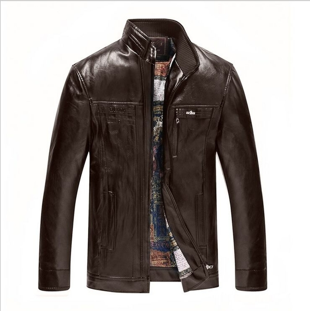 New Arrivals Winter Men's Leather Jacket Casual Stand Collar Hooded Leather Coat Mens Faux Leather Overcoats Warm Snow Clothing