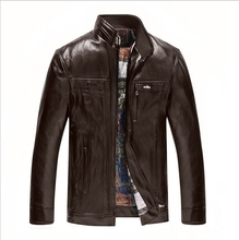 New Arrivals Winter Men s Leather Jacket Casual Stand Collar Hooded Leather font b Coat b