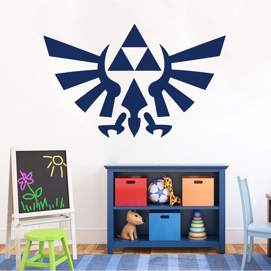 Triforce Art Decal Bird Emblem Zelda logo Wall Sticker For Kids Room Decoration Game Poster Mural Home Bedroom Decor W677 in Wall Stickers from Home Garden