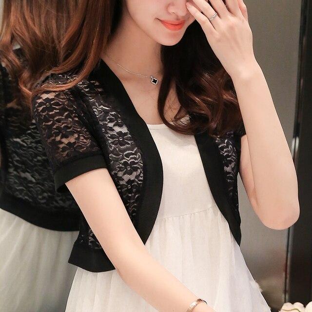 New summer lace shawl knit cardigan jacket wild female short chiffon sleeve short sleeves lace cardigan thin short coat  XY5061 4