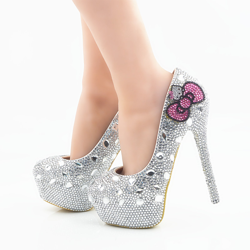 Hello Kitty Silver Rhinestone Bridal Wedding Shoes Graudation Party Prom High Heel Shoes Formal Dress Pumps Plus Size 45 купить