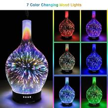 New 3D Glass Vase Aroma Diffuser Aromatherapy Essential Oil Diffuser Changing and Waterless Auto Shut-off Cool Mist Humidifier