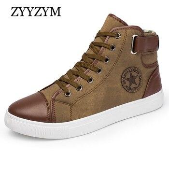 ZYYZYM mężczyźni buty w stylu casual wiosna jesień modne buty męskie sznurowane wysokiej Top styl trampki młodzieżowe męskie buty duży rozmiar 39- 46