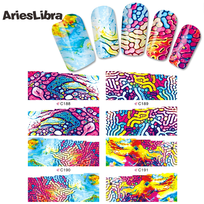AriesLibra Sticker Decal Fashion Coloured Glaze Era Nail Stickers Tips for Decoration Water Decals Manicure Beauty Tools