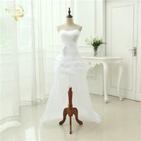 Vestido De Noiva 2018 New Shiny Organza Women Bride Sweetheart Beading Front Short Back Long White Ivory Wedding Dresses OC3399