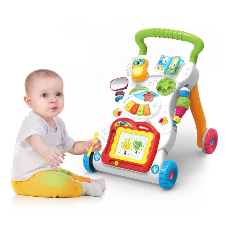 Apprentissage Réglable Musical Bébé Assis et Stand Walker Premières étapes Jouets chariot Bébé Éclairer sécurité jouet d'extérieur cadeau de voiture