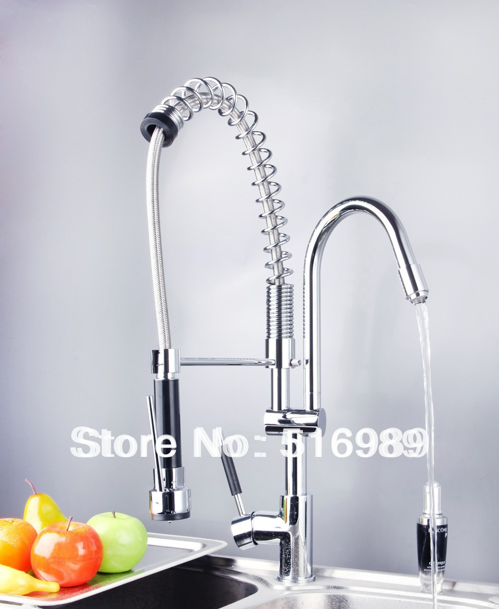 Free Shipping Basin Sink Vessel Mixer taps Chrome Two Spout Kitchen Faucets DS 8525 1