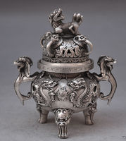 Chinese buddhist manual old silver copper dragon lion statues incense burner decoration