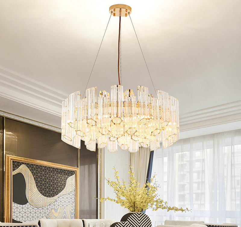 T Gold American Style Retro Chandeliers LED Crystal Lighting For Living Room Bedroom Hall Hotel Restaurant Dining Room Fashion