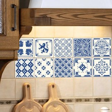Vintage azul y azulejos de porcelana blanca PVC impermeable autoadhesivo papel pintado muebles cocina baño DIY azulejos pared adhesivo