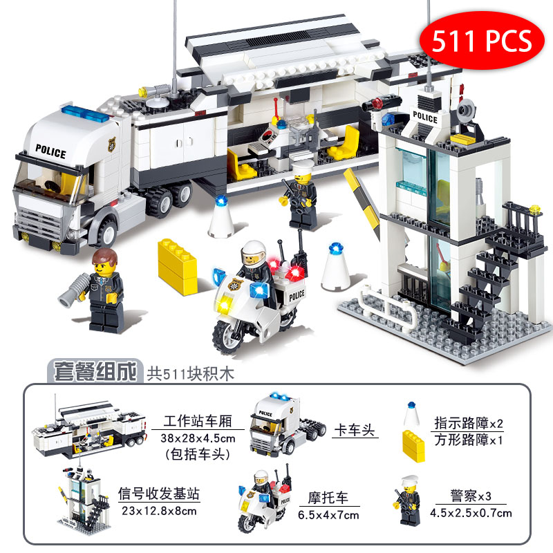 Kids Toys City Street Police Station sets Cars Trucks compatible legoeings  model Building kits Blocks cops vehicle boats Bricks-in Model Building Kits  from ... 9cc4b7f424