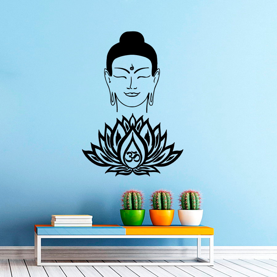 Home & Garden Liberal Zooyoo Buddhism Believer Home Decor Buddha Face Lotus Wall Sticker Vinyl Removable Art Yoga Bedroom Decals Good For Energy And The Spleen Home Decor