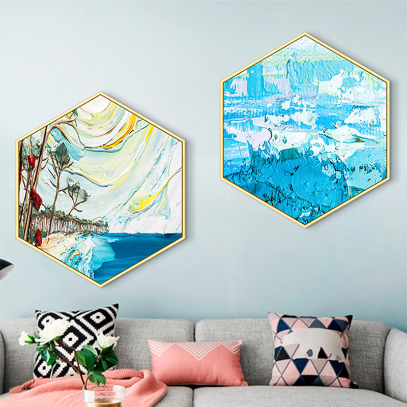 Abstract hexagonal living room decorative painting Simple modern sofa background wall painting Restaurant Creative mural framed