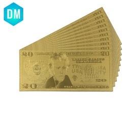 Старые бумажные доллары США 20 долларов США, домашние декоративные золотые банкноты, американские Поддельные Банкноты 24k, золотые деньги, по...