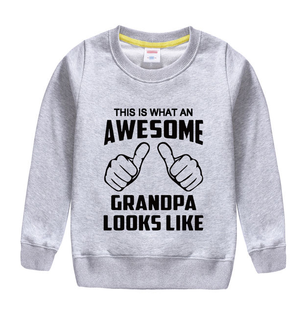 """this is what an awesome granopa  looks like "" printing 2018 new fashion cotton sweatshirt baby boy clothing top tees for kids"