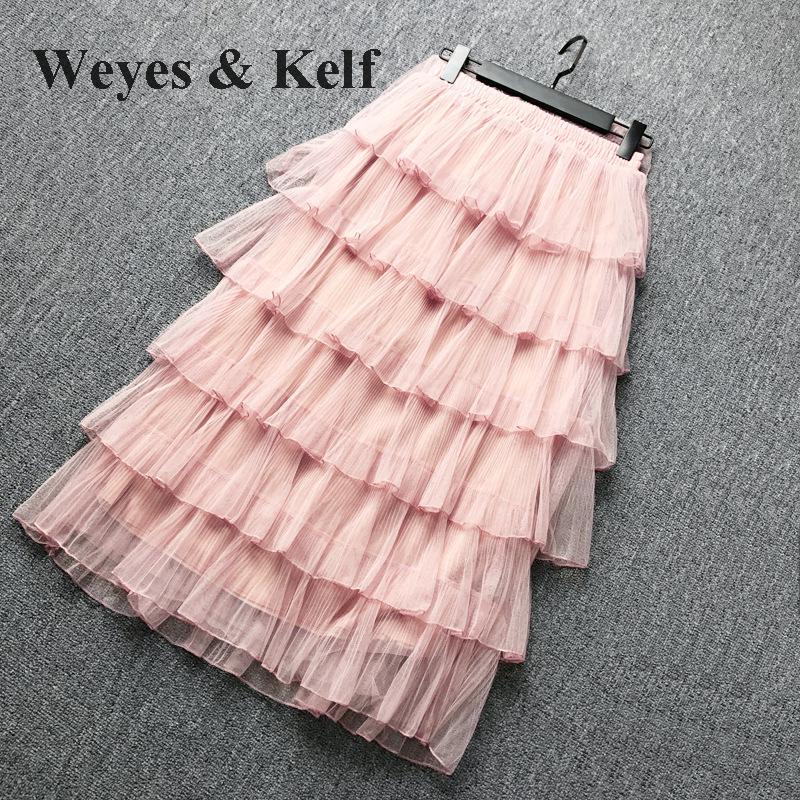 Weyes & Kelf Милая элегантная многослойная юбка принцессы для женщин 2018 Весенняя длинная юбка с оборками Тюлевая юбка пачка женские розовые юбки для женщин - 2