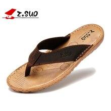 Z. Suo men's flip-flops Fashion leather flip-flops outdoor waterproof sandals Sandalias Zapatos De Hombre Big size 38-47