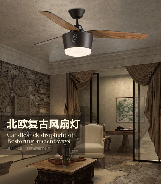 Continental modern minimalist ceiling fan light ceiling remote control leaves restaurant industry American fashion fan light