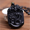 Natural Black Obsidian Pendant Carved Chinese Zodiac Snake Pendant Bead Necklace Lucky Amulet Men Women's Fashion Jade Jewelry