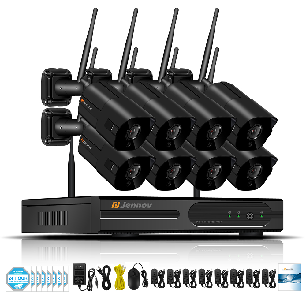 Wireless NVR HD Outdoor Home Security Camera System 8CH CCTV Video Surveillance NVR Kit 960P Wifi Camera Set black Ip Camera escam hd 8ch nvr for wireless ip camera