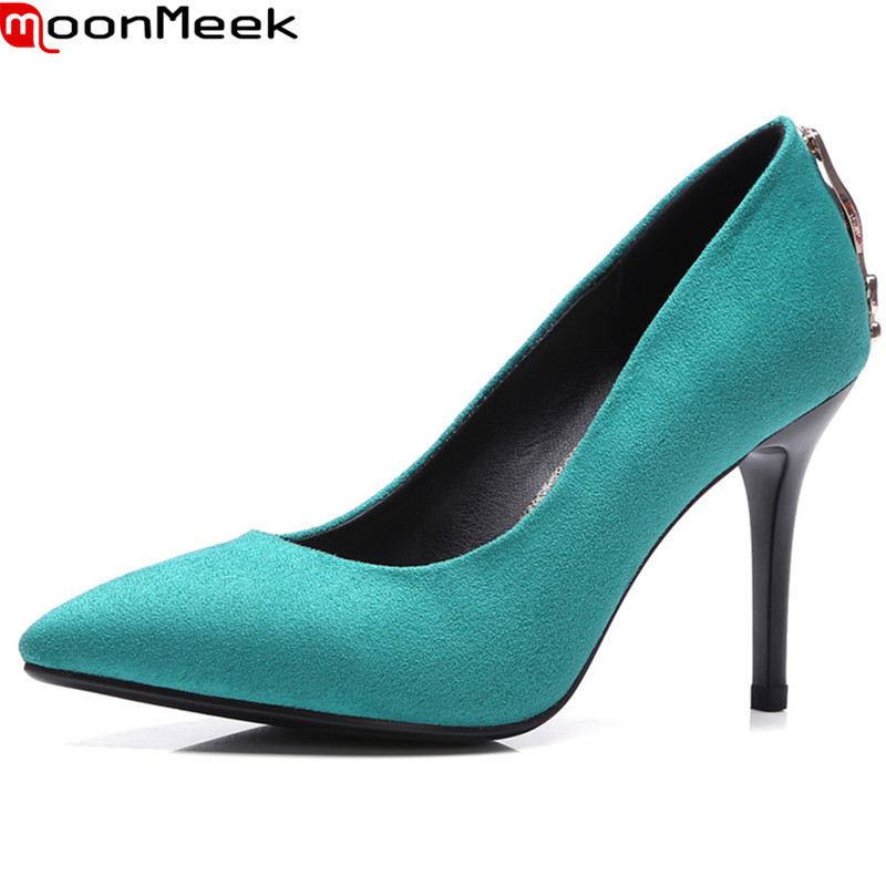 MoonMeek 2018 sexy female fashion pumps pointed toe thin heels slip on shallow extreme high heels red black colour woman shoes