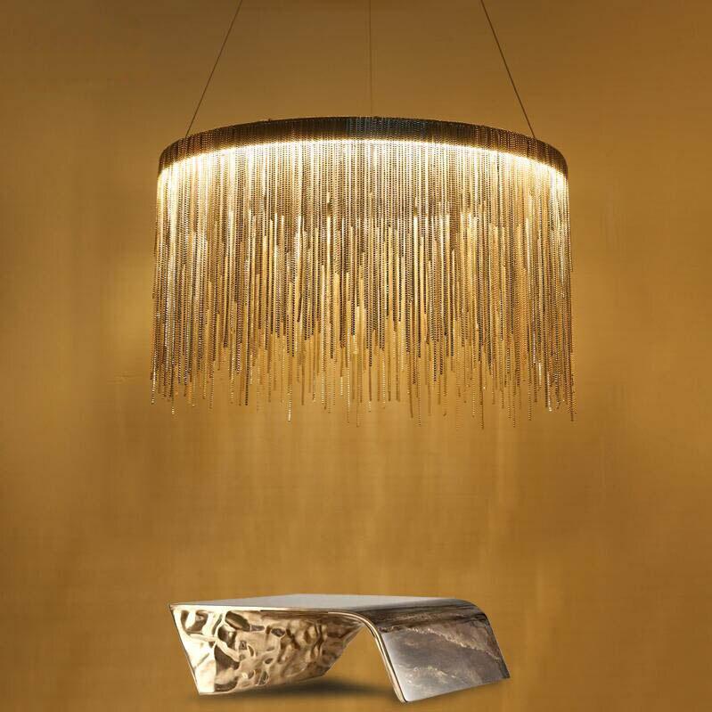 LED luxury tassel Led pendant lamp round aluminum chain pendant light modern lamp luminaire chrome glod Led ceiling lamp ZDD0101