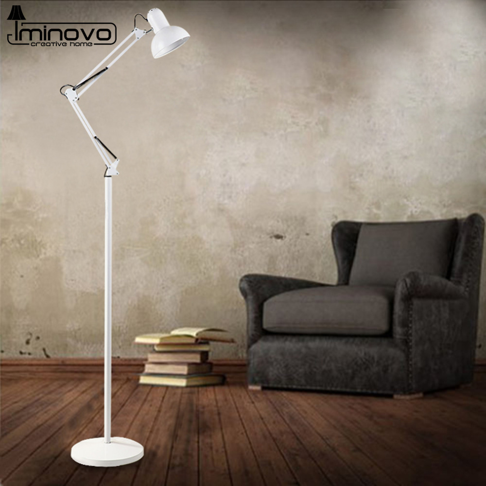 iminovo modern floor lamps blackwhite living room study novelty adjustable neck stand lamp 110v