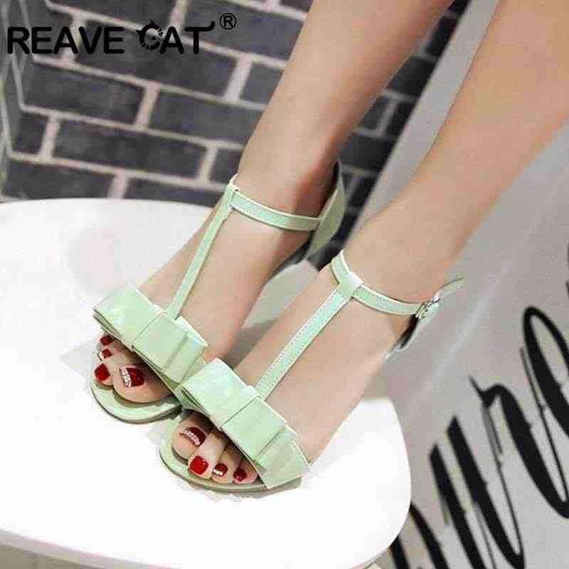 a62dd5c27537 REAVE CAT Shoes Women Flat sandals Summer Bowtie T strap Buckle sandals  women Open Toe Covered