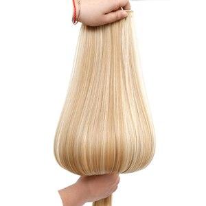Накладные волосы DIFEI 24 дюйма, 16 зажимов, длинные прямые синтетические волосы блонд, черные, термостойкие накладные волосы