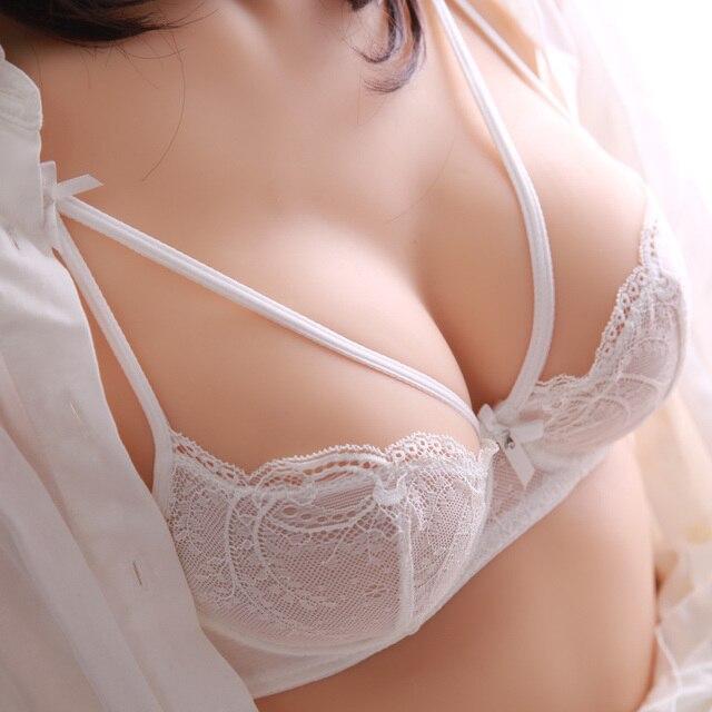 Esponja respirável sexy sutiã de renda transparente ultra-fino push up preto branco jovem cueca conjunto de sutiã menina
