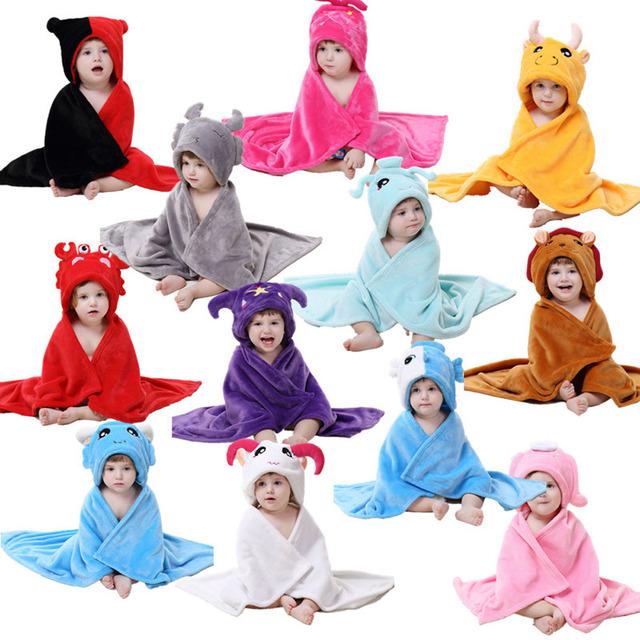 Bebê com capuz roupão de flanela infantil doze constelação de camada de capa criança banho do bebê toalha de banho