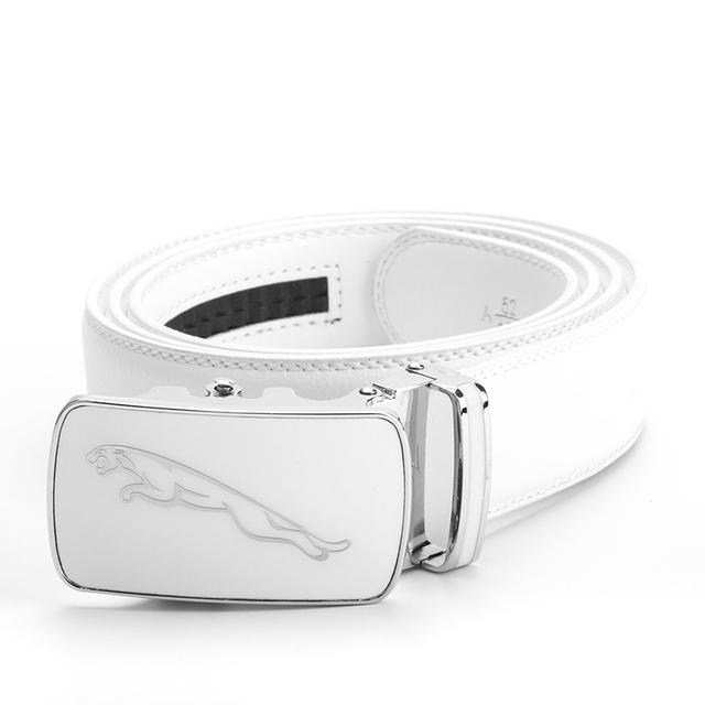 Jaguar 2017 Nuevos Cinturones de Diseño Hombres de Alta Calidad de Lujo de Negocios Hombre de Cuero Verdadero Genuino Correa Jeans Pretina Blanco Boda