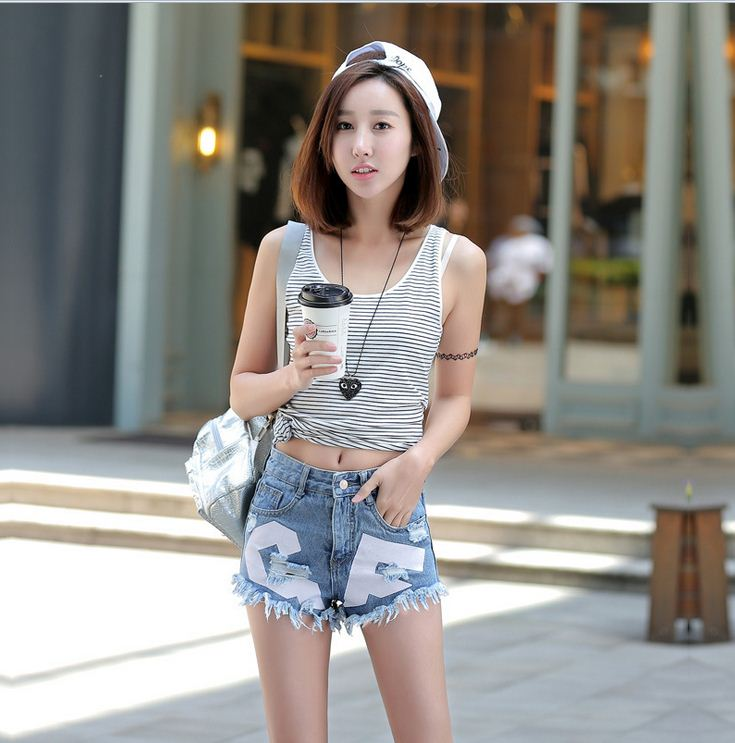 Fashion Sexy Women Summer Mid Waist Jeans Hot Pants Casual Denim ...