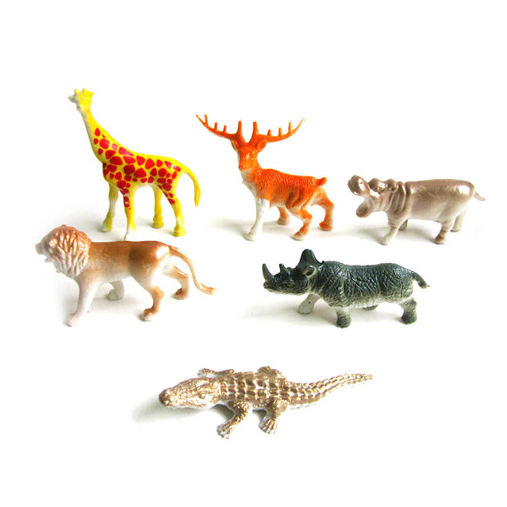 8PCS/set Toys Set Gift For Kids Plastic Lovely Animal Zoo Animal Figure Tiger Leopard Hippo Giraffe Kids Toy