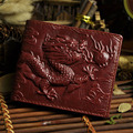 New Arrival Men Genuine Leather Short Wallet Chinese Style Dragon Pattern Designer Coin Purse Money Card Holder Bifold Wallets